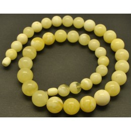 White Baltic amber round beads necklace