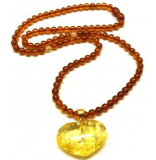 Natural Baltic amber necklace with heart pendant