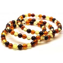 Lot of 3 multicolor round beads Baltic amber bracelets 6 mm.