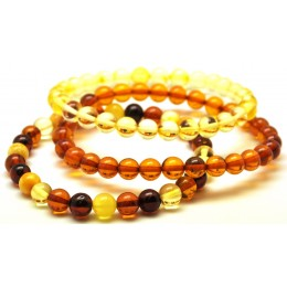 Lot of 3 round beads Baltic amber bracelets  7 mm.