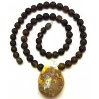 Raw healing round beads Baltic amber necklace with pendant