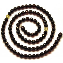 Round beads long faceted  Baltic amber necklace