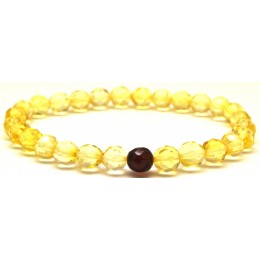 Faceted round beads Baltic amber bracelet 7 mm.