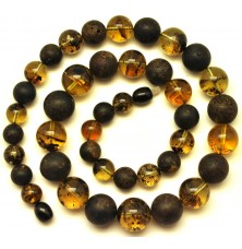 Mixed raw and polished amber round beads necklace