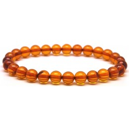 Round beads cognac Baltic amber bracelet 7 mm.