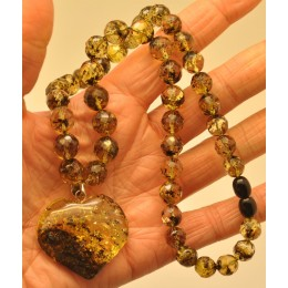 Faceted Baltic amber necklace with heart pendant