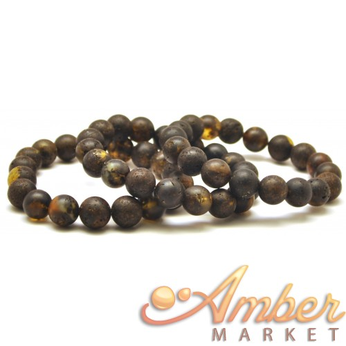 Lot of 3 raw healing round beads Baltic amber bracelets