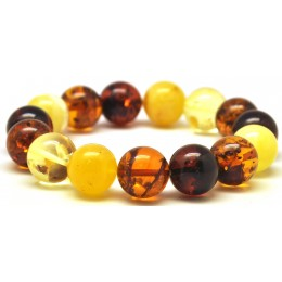 Multicolor round beads Baltic amber bracelet 14 mm.