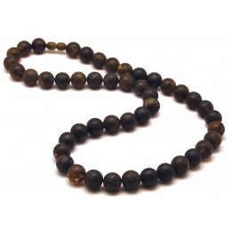 Healing Baltic amber round beads long necklace