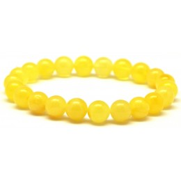 Yellow round beads Baltic amber bracelet  9 mm.