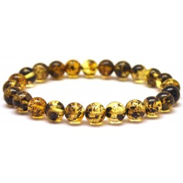 Round beads green Baltic amber bracelet 8 mm.