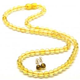 Round beads lemon Baltic amber set of necklace and earrings 6 mm.