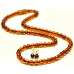 Round beads cognac Baltic amber set of necklace and earrings 5 mm.