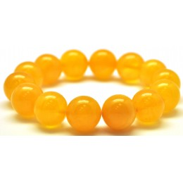 Natural round beads antique color Baltic amber bracelet 14 - 15 mm.