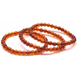 Lot of 3 cognac round beads Baltic amber bracelets 5,3 mm.