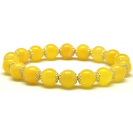 Yellow round beads Baltic amber bracelet  10,3 mm.