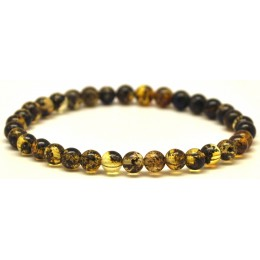Green round beads Baltic amber bracelet 5,5 mm.