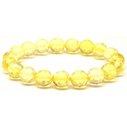 Faceted round beads Baltic amber bracelet 10,3 mm.