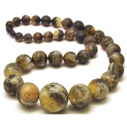 Massive healing Baltic amber round beads long necklace 96 g