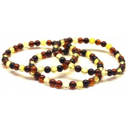 Lot of 3 multicolor round beads Baltic amber bracelets 5,2 mm.