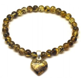 Green round beads Baltic amber bracelet with heart pendant