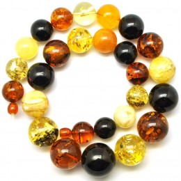 Massive round beads multicolor  Baltic amber necklace 90 g .