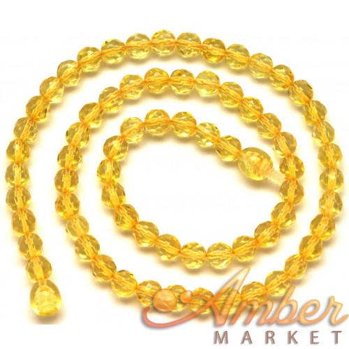 Round beads faceted lemon  Baltic amber necklace