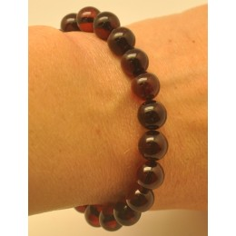 Cherry round beads Baltic amber bracelet  9 mm.