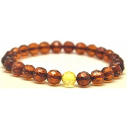 Faceted round beads Baltic amber bracelet 7,5 mm.
