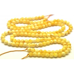 Natural Baltic amber 2x66 loose  Beads 5 mm white strands 40 cm.