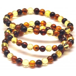 Lot of 3 multicolor round beads Baltic amber bracelets