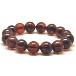 Cherry round beads Baltic amber bracelet  12,4 mm.