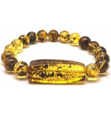 Green round beads Baltic amber bracelet 10 mm.