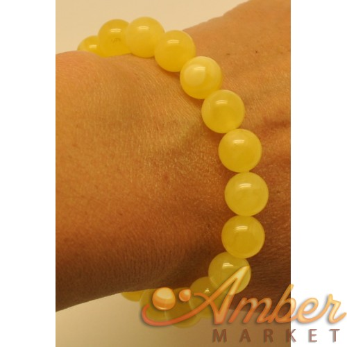 Natural yellow round beads Baltic amber bracelet  10 mm.