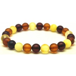 Multicolor unpolished round beads amber bracelet  8 mm.