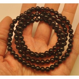 Cherry long amber round beads necklace