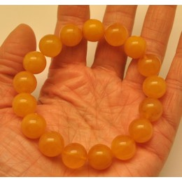 Round beads antique color amber bracelet 12 mm.