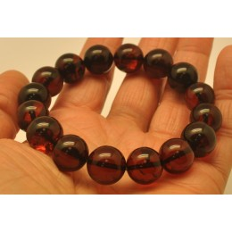 Cherry round beads Baltic amber bracelet  13 mm.