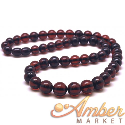 Cherry Baltic amber round beads necklace