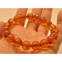 Cognac round beads Baltic amber bracelet  11 mm.
