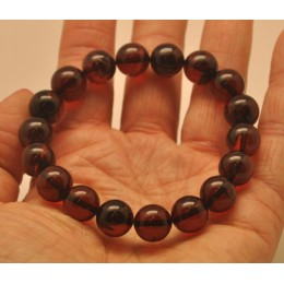 Cherry round beads Baltic amber bracelet  11 mm.