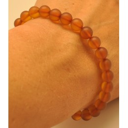 Cognac unpolished round beads amber bracelet  7 mm.