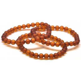 Lot of 3 cognac unpolished round beads amber bracelet  6 mm.