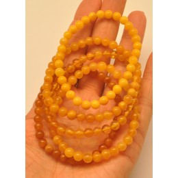 5 Antique color round beads amber bracelets 5 - 6 mm.