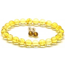 Set of  round beads amber bracelet  and earrings