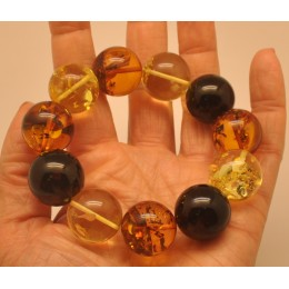 Round beads Baltic amber bracelet 20 mm.