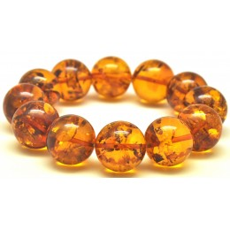 Round beads Baltic amber bracelet 18mm - 20 mm.