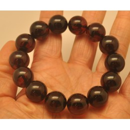 Cherry round beads Baltic amber bracelet  14 - 15 mm.