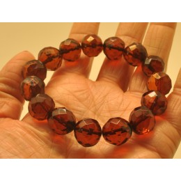 Cognac faceted Baltic amber bracelet 13 - 14 mm.