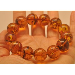 Round beads Baltic amber bracelet 16 mm.